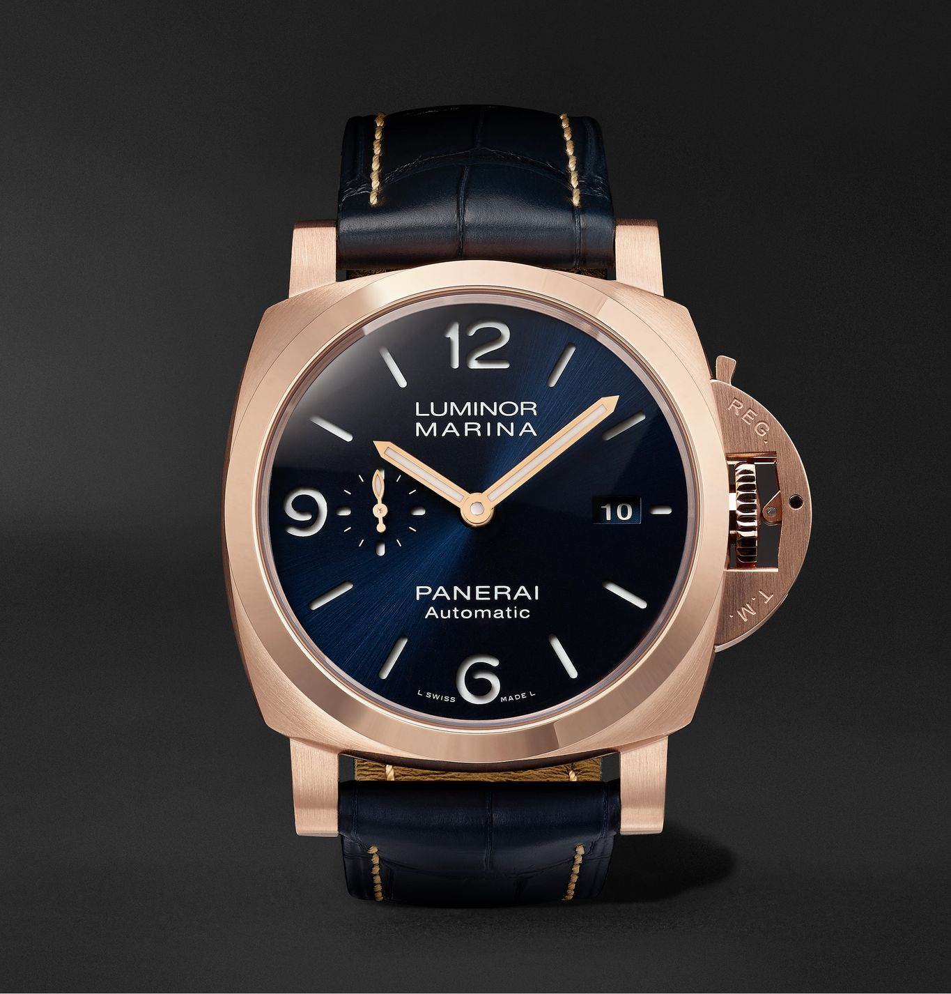 Luminor Marina Sole Blu Automatic 44mm Goldtech and Alligator Watch