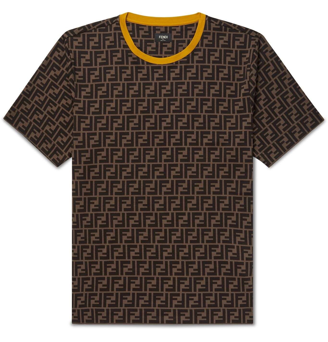 Contrast-Tipped Logo-Print Cotton-Jersey T-Shirt