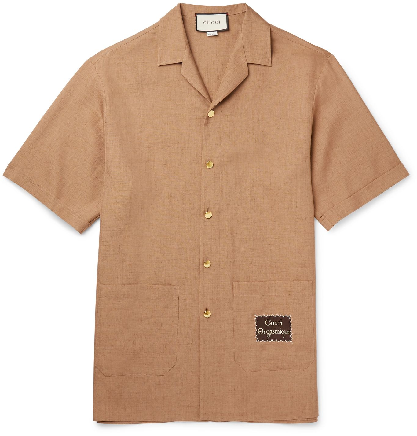 Camp-Collar Appliquéd Hopsack Shirt