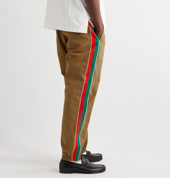 Slim-Fit Tapered Webbing-Trimmed Cotton-Blend Ripstop Trousers