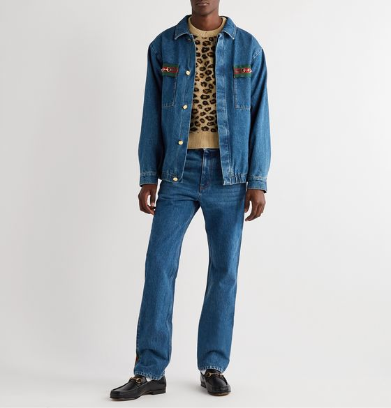 Oversized Embellished Webbing-Trimmed Denim Jacket