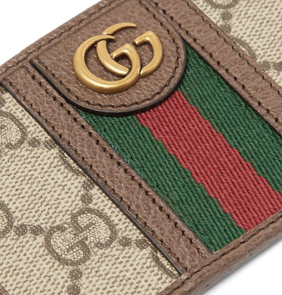 Ophidia Webbing-Trimmed Leather and Monogrammed Coated-Canvas Cardholder