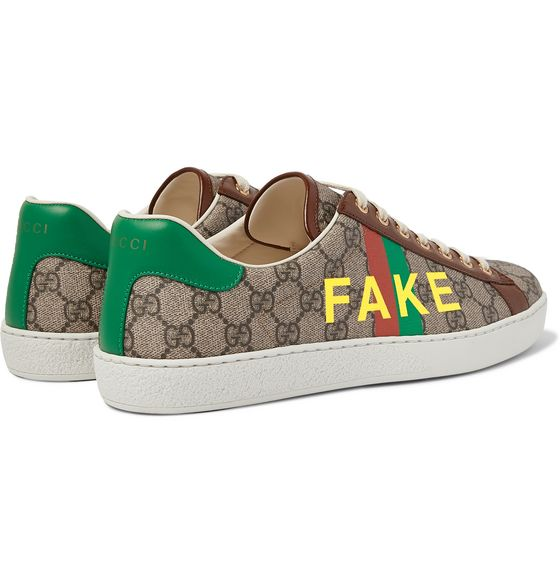 Ace Printed Leather-Trimmed Monogrammed Coated-Canvas Sneakers