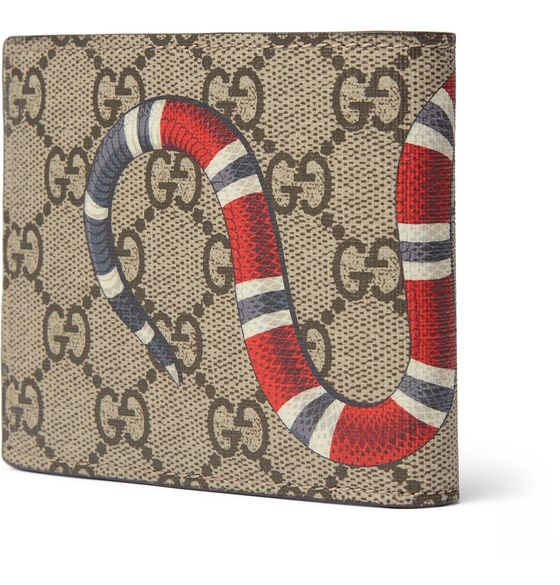 Printed Monogrammed Coated-Canvas and Leather Billfold Wallet