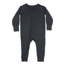 Load image into Gallery viewer, Black Ribbed Zip Romper