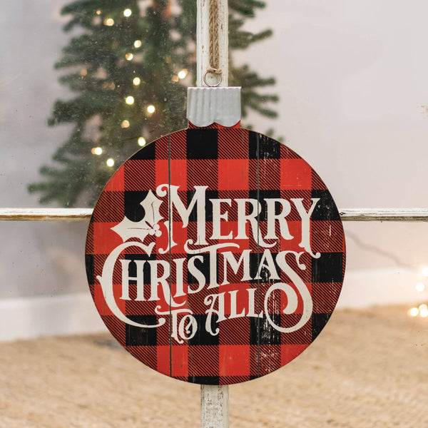 Col House Designs - Merry Christmas Buffalo Check Ornament