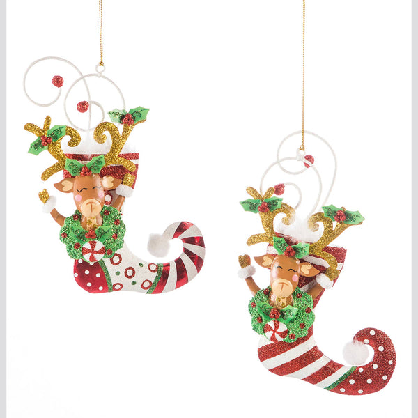 DTHY! - 2 Assorted Kringles Stocking Reindeer Ornament