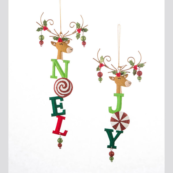 DTHY! - 2 Assorted Noel and Joy Deer Ornament