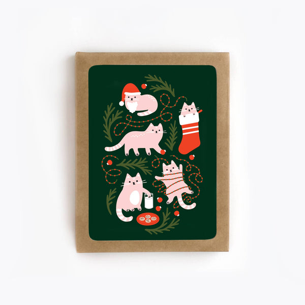 The Detroit Card Co. - Christmas Cats Card - Set of 8