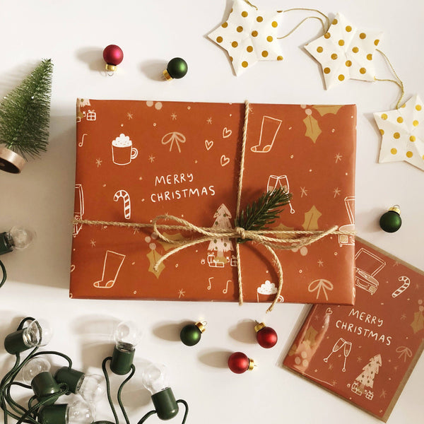 Abbie Ren Illustration - Rust Merry Christmas Wrapping Paper - 3 sheet roll