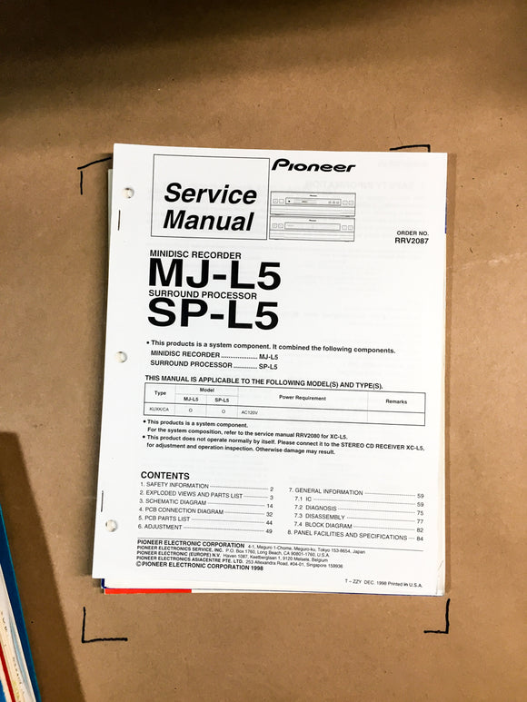 Pioneer MJ-L5 / SP-L5 Surround Processor Service Manual *Original*