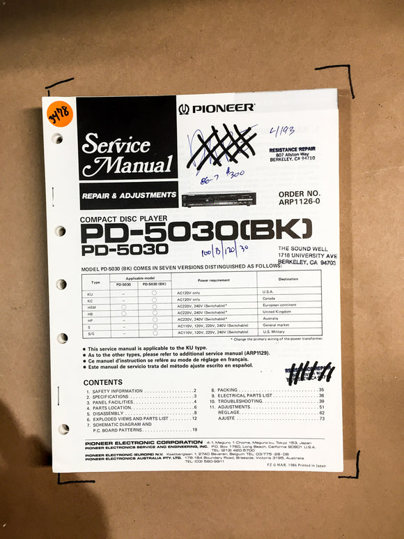Pioneer PD-5030 CD Player Service Manual *Original*