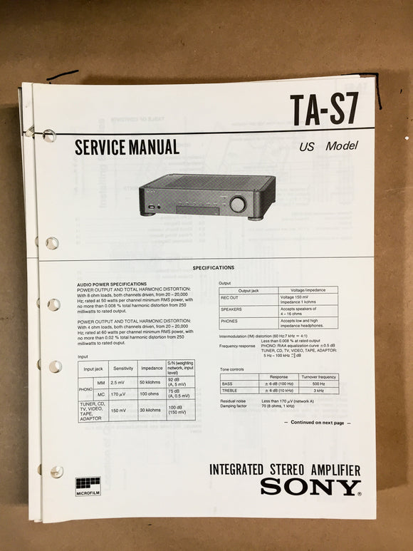 Sony TA-S7 Amplifier Service Manual *Original*