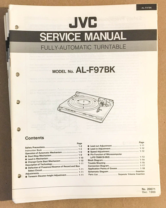 JVC AL-F97 Turntable / Record Player  Service Manual *Original*