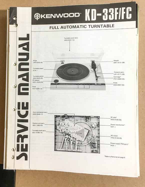 Kenwood KD-33F FC Turntable / Record Player  Service Manual *Original*