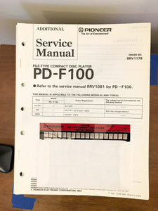 Pioneer PD-F100 CD Player Service Manual *Original* #2