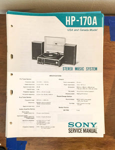 Sony HP-170A Stereo Music System Service Manual *Original*