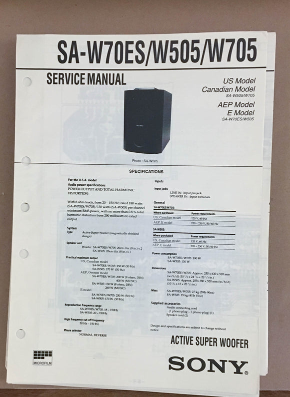 Sony  SA-W70ES W505 W705 Super Woofer Service Manual *Original*