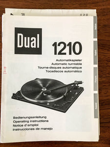 Dual 1210 Record Player / Turntable Owners / Operating Manual *Original*