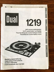 Dual 1219 Record Player / Turntable Owners / Operating Manual *Original* #1