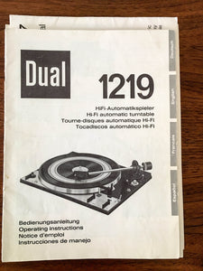 Dual 1219 Record Player / Turntable Owners / Operating Manual *Original* #2