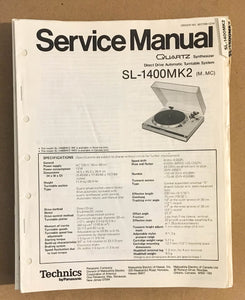 TECHNICS SL-1400 MK2 TURNTABLE RECORD PLAYER  Service Manual *Original*