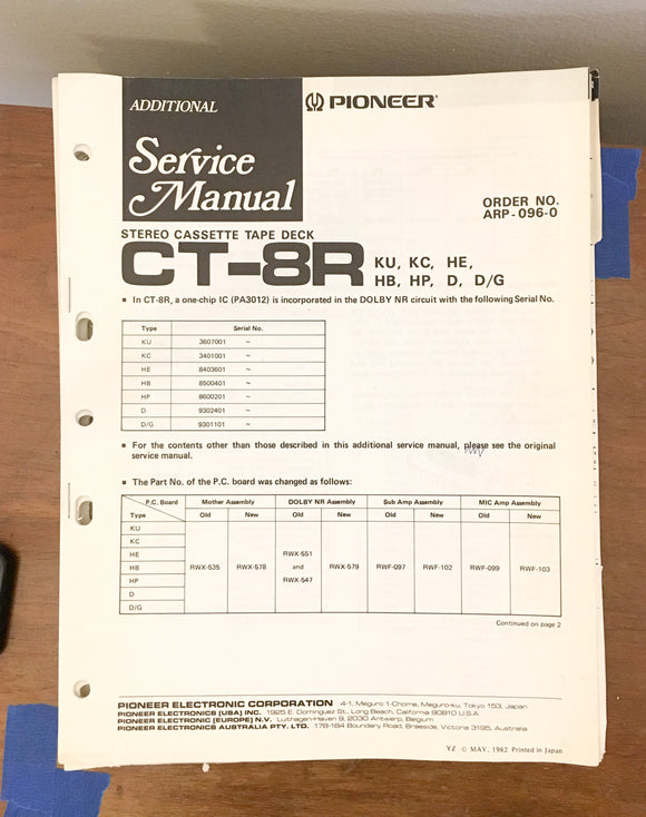 Pioneer CT-8R Cassette  Service Manual *Original* #2