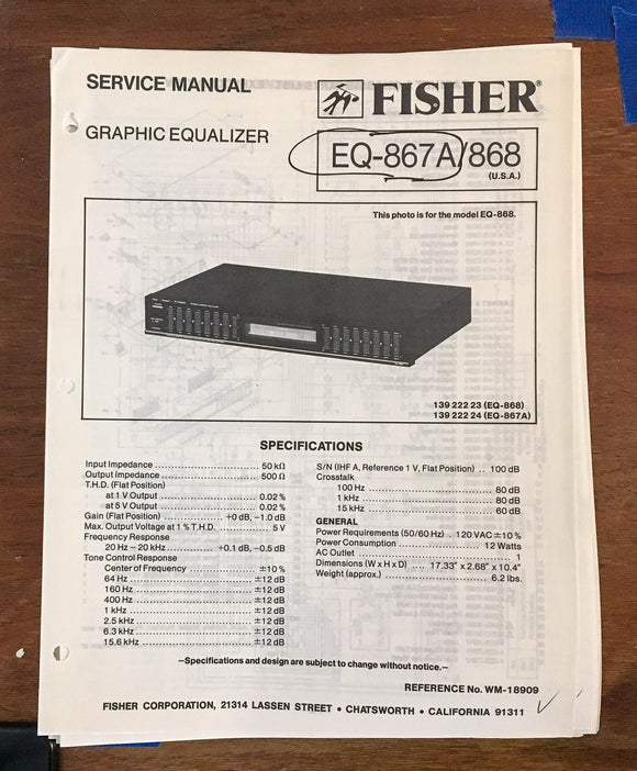 Fisher EQ-867A / EQ-868  Service Manual *Original*