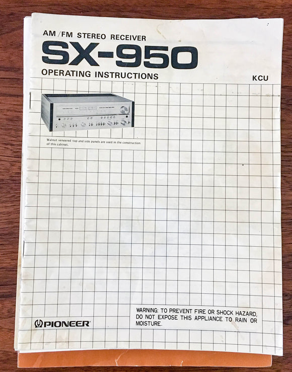 Pioneer SX-950 Receiver Owners Operating Manual *Original*