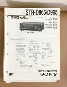 Sony STR-D865 STR-D965 Receiver  Service Manual *Original*