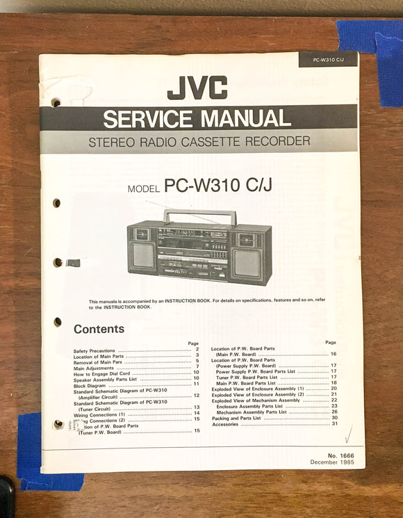 JVC PC-W310 W310C  Portable Stereo Boombox Service Manual *Original*