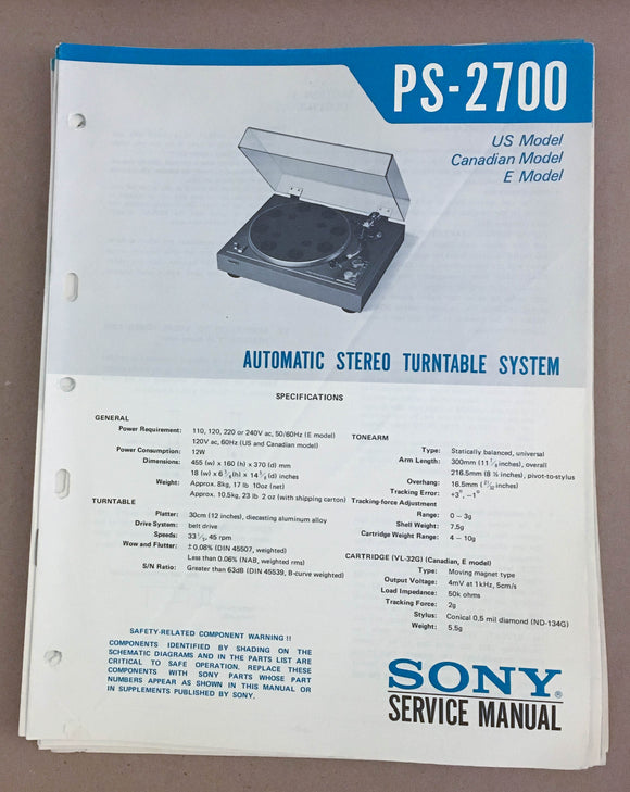 Sony PS-2700 Turntable Record Player  Service Manual *Original*