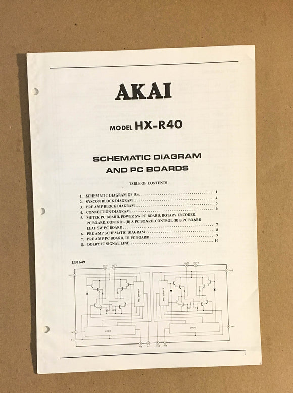 Akai HX-R40 Cassette Deck  Service Manual *Original*