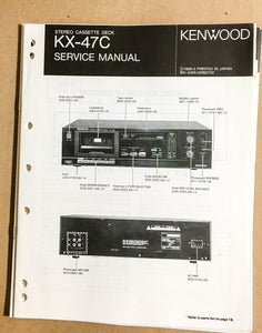 Kenwood KX-47C Cassette Tape Deck  Service Manual *Original*