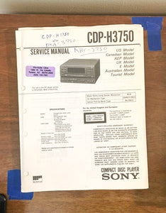 Sony CDP-H3750 CD Player Service Manual *Original*