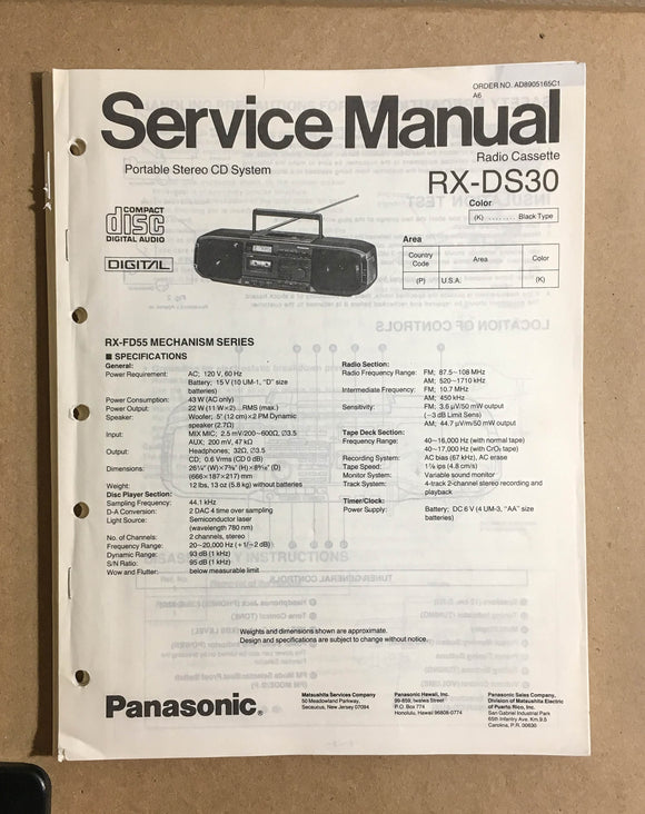 Kenwood RX-DS30 Portable Radio Stereo  Service Manual *Original*