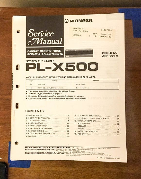 Pioneer PL-X500 Turntable / Record Player Service Manual *Original*