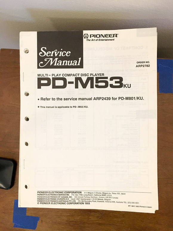 Pioneer PD-M53 CD Player Service Manual *Original*
