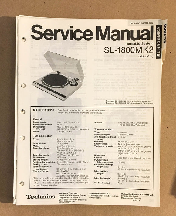 TECHNICS SL-1800 MK2 TURNTABLE RECORD PLAYER  Service Manual *Original*