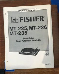 Fisher MT-225 MT-226 MT-235 Record Player / Turntable Service Manual *Original*