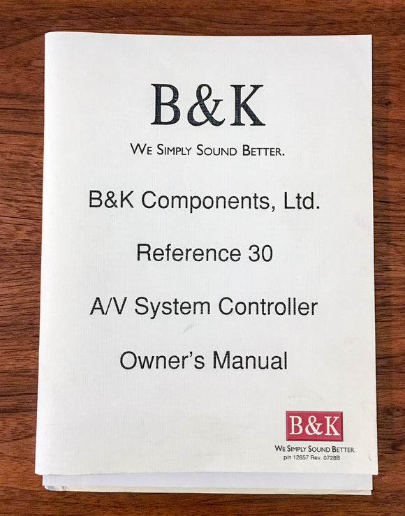 B&K Reference 30 Controller Owners Operating Manual *Original*