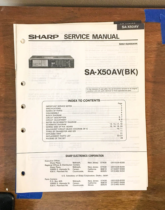 Sony SA-X50AV Receiver Service Manual *Original*