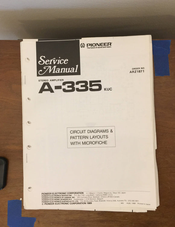 Pioneer A-335 Amplifier Service Manual *Original* #2