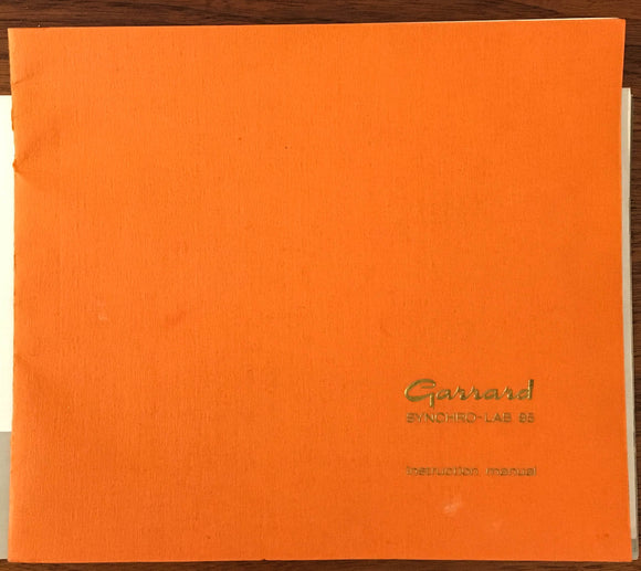Garrard Synchro-Lab 95 Record Player / Turntable Owners Manual *Original*