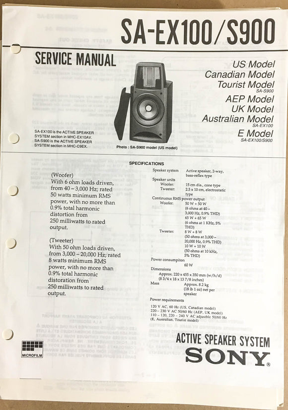 Sony SA-EX100 SA-S900 Speaker System  Service Manual *Original*