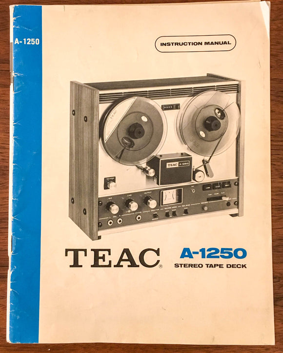 Teac A-1250 REEL TO REEL OWNERS INSTRUCTION Manual *Original*