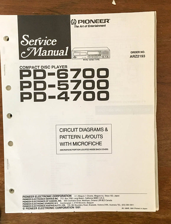 Pioneer PD-6700 PD-5700 PD-4700 CD Player Service Manual Notice *Original*