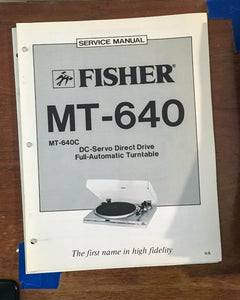 Fisher MT-640 Record Player / Turntable Service Manual *Original*