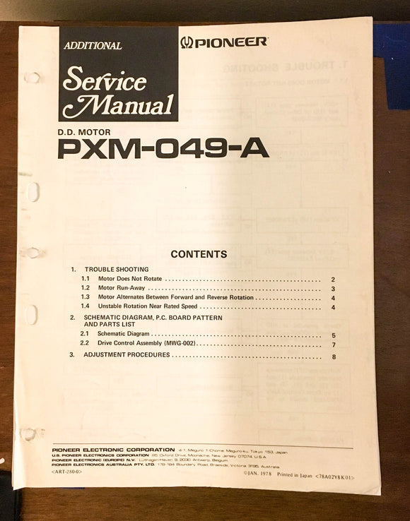 Pioneer PXM-049-A Direct Drive Motor Service Manual *Original*