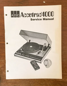 ADC Accutrac 4000 Record Player / Turntable  Service Manual *Original* #1